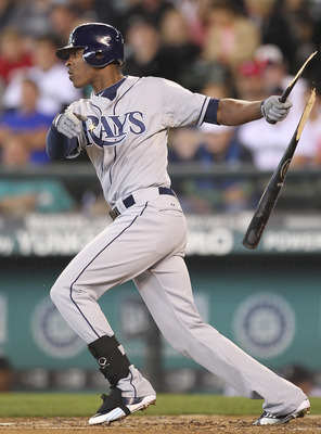 SEATTLE - JULY 31:  B.J. Upton #2 of the Tampa Bay Rays breaks his bat on a groundout to second in the fifth inning against the Seattle Mariners at Safeco Field on July 31, 2011 in Seattle, Washington. The Rays defeated the Mariners 8-1. (Photo by Otto Gr
