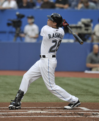 TORONTO, CANADA - JULY 28:  Newly-acquired Colby Rasmus #28 of the Toronto Blue Jays bats during MLB game action against the Baltimore Orioles July 28, 2011 at Rogers Centre in Toronto, Ontario, Canada. (Photo by Brad White/Getty Images)