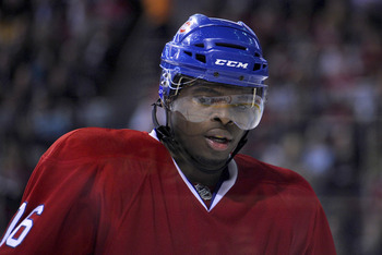 MONTREAL, CANADA - APRIL 26:  P.K. Subban #76 of the Montreal Canadiens skates around during a TV timeout in Game Six of the Eastern Conference Quarterfinals against the Boston Bruins during the 2011 NHL Stanley Cup Playoffs at the Bell Centre on April 26