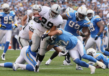 SAN DIEGO - DECEMBER 05:  Running back Michael Bush #29 of the Oakland Raiders carries the ball for a touchdown in the second quarter against the San Diego Chargers at Qualcomm Stadium on December 5, 2010 in San Diego, California. The Raiders defeated the