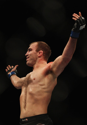 SYDNEY, AUSTRALIA - FEBRUARY 27:  Brian Ebersole of Australia celebrates his win over Chris Lytle of the USA during their welterweight bout during their middleweight bout as part of UFC 127 at Acer Arena on February 27, 2011 in Sydney, Australia.  (Photo
