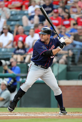 ARLINGTON, TX - JULY 28:  Jim Thome #25 of the Minnesota Twins at Rangers Ballpark in Arlington on July 28, 2011 in Arlington, Texas.  (Photo by Ronald Martinez/Getty Images)