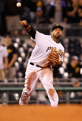 PITTSBURGH - MAY 09:  Pedro Alvarez #24 of the Pittsburgh Pirates throws to first base against the Los Angeles Dodgers during the game on May 9, 2011 at PNC Park in Pittsburgh, Pennsylvania.  (Photo by Jared Wickerham/Getty Images)