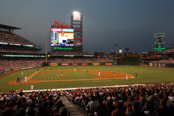 PHILADELPHIA - JUNE 10: A view of the field during a game between the Chicago Cubs and the Philadelphia Phillies at Citizens Bank Park on June 10, 2011 in Philadelphia, Pennsylvania. The Phillies won 7-5. (Photo by Hunter Martin/Getty Images)