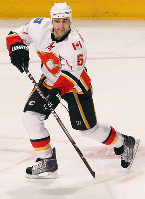 DENVER, CO - FEBRUARY 14:  Mark Giordano #5 of the Calgary Flames skates against the Colorado Avalanche at the Pepsi Center on February 14, 2011 in Denver, Colorado. The Flames defeated the Avalanche 9-1.  (Photo by Doug Pensinger/Getty Images)
