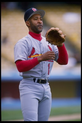 14 May 1995:  Shortstop Ozzie Smith of the St. Louis Cardinals waits in the infield for any sailing balls hit by the Los Angeles Dodgers at Dodgers Stadium in Los Angeles, California.  The Cardinals defeated the Dodgers 6-5.  Mandatory Credit:  Steve Dunn