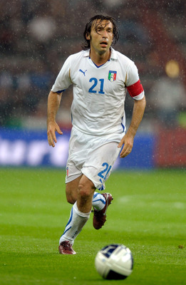 LIEGE, BELGIUM - JUNE 07:  Andrea Pirlo of Italy during the international friendly match between Italy and Ireland at Stade Maurice Dufrasne on June 7, 2011 in Liege, Belgium.  (Photo by Claudio Villa/Getty Images)