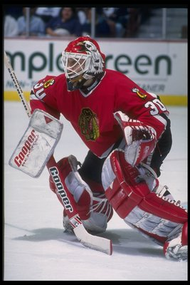 11 Mar 1994:  Goaltender Ed Belfour of the Chicago Blackhawks looks on during a game against the Anaheim Mighty Ducks at Arrowhead Pond in Anaheim, California. Mandatory Credit: J.D. Cuban  /Allsport