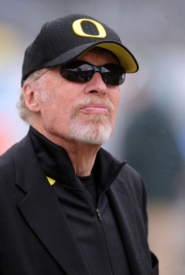 EUGENE, OR - SEPTEMBER 19: Nike owner Phil Knight watches warm ups before the game between the Utah Utes and the Oregon Ducks at Autzen Stadium on September 19, 2009 in Eugene, Oregon. Oregon won the game 31-24. (Photo by Steve Dykes/Getty Images)