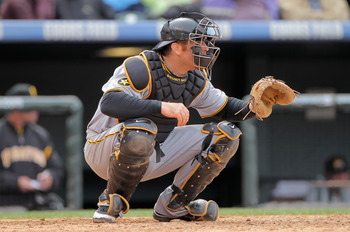 DENVER, CO - MAY 01:  Catcher Ryan Doumit #41 of the Pittsburgh Pirates backs up the plate against the Colorado Rockies at Coors Field on May 1, 2011 in Denver, Colorado. The Pirates defeated the Rockies 8-4.  (Photo by Doug Pensinger/Getty Images)