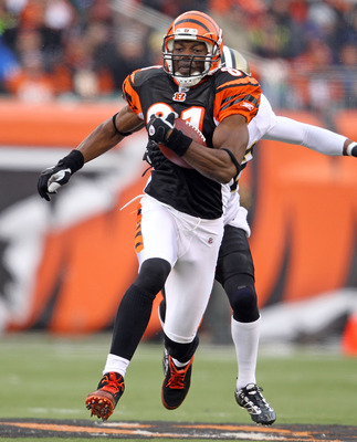 CINCINNATI, OH - DECEMBER 05:  Terrell Owens #81 of the Cincinnati Bengals runs with the ball during the NFL game against the New Orleans Saints at Paul Brown Stadium on December 5, 2010 in Cincinnati, Ohio.  The Saints won 34-30.  (Photo by Andy Lyons/Ge