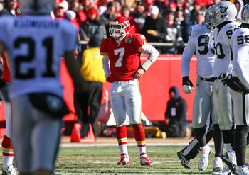 KANSAS CITY, MO - JANUARY 02:  Quarterback Matt Cassel #7 of the Kansas City Chiefs rests between plays in a game against the Oakland Raiders at Arrowhead Stadium on January 2, 2011 in Kansas City, Missouri.  (Photo by Tim Umphrey/Getty Images)