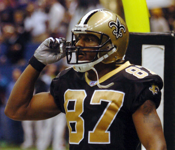 NEW ORLEANS - DECEMBER 14:  Joe Horn #87 of The New Orleans Saints talks on his cell phone after scoring a touchdown against the New York Giants December 14, 2003, at the Superdome in New Orleans, Louisiana.  (Photo by Chris Graythen/Getty Images)