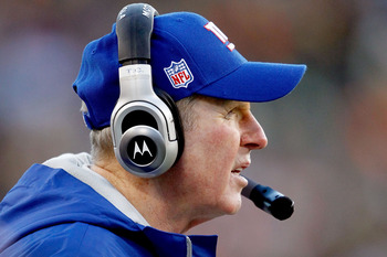 GREEN BAY, WI - DECEMBER 26:  Coach Tom Coughlin of the New York Giants on the sidelines against the Green Bay Packers at Lambeau Field on December 26, 2010 in Green Bay, Wisconsin.  (Photo by Matthew Stockman/Getty Images)