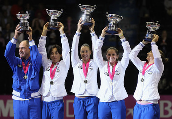 SAN DIEGO - NOVEMBER 07:  (L-R) Captain Corrado Barazzutti, Francesca Schiavone, Flavia Pennetta, Roberta Vinci and Sara Errani of Italy pose with the trophy following their Fed Cup team victory over the USA at San Diego Sports Arena on November 7, 2010 i
