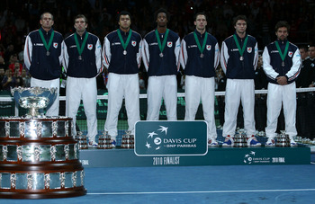BELGRADE, SERBIA - DECEMBER 05:  The French team with their runners up medals, (L-R)  Guy Forget, Julien Benneteau, Jo-Wilfried Tsonga, Gael Monfils, Michael Llodra, Gilles Simon and Arnaud Clement during day three of the Davis Cup Tennis Final at the Beg