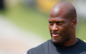 LATROBE, PA - JULY 29:  James Harrison #92 of the Pittsburgh Steelers walks down to the field during training camp on July 29, 2011 at St Vincent College in Latrobe, Pennsylvania.  (Photo by Jared Wickerham/Getty Images)