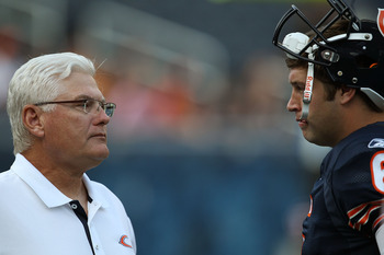 CHICAGO - AUGUST 21: Offensive coordinator Mike Martz of the Chicago Bears talks with Jay Cutler #6 during warm-ups before a preseason game against the Oakland Raiders at Soldier Field on August 21, 2010 in Chicago, Illinois. (Photo by Jonathan Daniel/Get