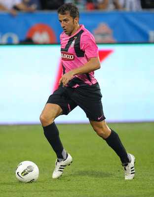 TORONTO, CANADA - JULY 23: Alessandro Del Piero #10 of Juventus FC attacks against Sporting Clube De Portugal during their World Football Challenge friendly match on July 23, 2011 at BMO Field in Toronto, Ontario, Canada. (Photo by Tom Szczerbowski/Getty