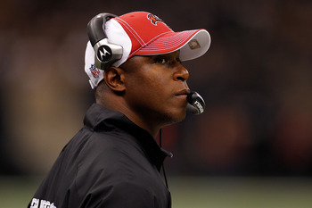 NEW ORLEANS, LA - JANUARY 02:  Head coach Raheem Morris of the Tampa Bay Buccaneers watches a play during the game against the New Orleans Saints at the Louisiana Superdome on January 2, 2011 in New Orleans, Louisiana.  The Buccaneers defeated the Saints
