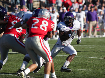 ALBUQUERQUE, NM - NOVEMBER 27: Ed Wesley #34 of the TCU Horned Frogs runs against the University of New Mexico Lobos on November 27, 2010 at University Stadium in Albuquerque, New Mexico. TCU won 66-17. (Photo by Eric Draper/Getty Images)