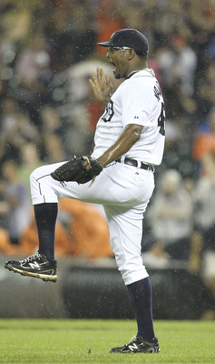 DETROIT - AUGUST 02: Jose Valverde #46 of the Detroit Tigers celebrates a 6-5 victory over the Texas Rangers at Comerica Park on August 2, 2011 in Detroit, Michigan. (Photo by Leon Halip/Getty Images)