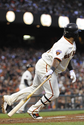SAN FRANCISCO, CA - AUGUST 2:  Pablo Sandoval #48 of the San Francisco Giants hits an RBI double driving in Jeff Keppinger #8 against the Arizona Diamondbacks in the fourth inning during an MLB baseball game at AT&T Park August 2, 2011 in San Francisco, C
