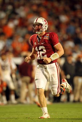MIAMI, FL - JANUARY 03: Andrew Luck #12 of the Stanford Cardinal celebrates a play against the Virginia Tech Hokies during the 2011 Discover Orange Bowl at Sun Life Stadium on January 3, 2011 in Miami, Florida. Stanford won 40-12. (Photo by Mike Ehrmann/G
