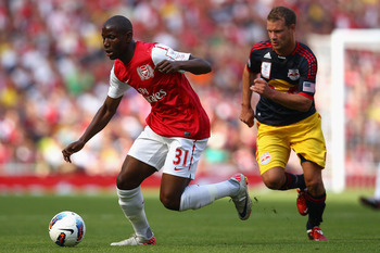 LONDON, ENGLAND - JULY 31:  Benik Afobe of Arsenal with the ball during the Emirates Cup match between Arsenal and New York Red Bulls at the Emirates Stadium on July 31, 2011 in London, England.  (Photo by Richard Heathcote/Getty Images)