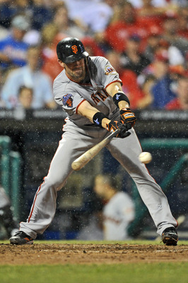 PHILADELPHIA, PA - JULY 28: Chris Stewart #37 of the San Francisco Giants hits a single in the seventh inning during the game against the Philadelphia Phillies at Citizens Bank Park on July 28, 2011 in Philadelphia, Pennsylvania. The Giants won 4-1. (Phot