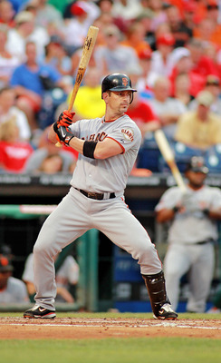 PHILADELPHIA , PA - JULY 27:  Aaron Rowand #33 of the San Francisco Giants bats against the Philadelphia Phillies at Citizens Bank Park on July 27, 2011 in Philadelphia, Pennsylvania. The Giants defeated the Phillies 2-1.  (Photo by Len Redkoles/Getty Ima