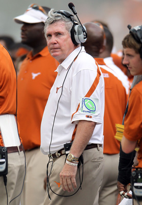 AUSTIN, TX - SEPTEMBER 25:  Head coach Mack Brown of the Texas Longhorns during a game against the UCLA Bruins at Darrell K Royal-Texas Memorial Stadium on September 25, 2010 in Austin, Texas.  (Photo by Ronald Martinez/Getty Images)