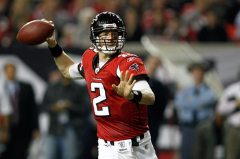 ATLANTA, GA - JANUARY 15:  Quarterback Matt Ryan #2 of the Atlanta Falcons throws a pass against the Green Bay Packers during their 2011 NFC divisional playoff game at Georgia Dome on January 15, 2011 in Atlanta, Georgia. The Packers won 48-21. (Photo by