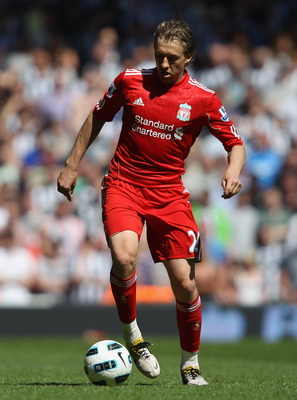 LIVERPOOL, ENGLAND - MAY 01:  Lucas of Liverpool in action during the Barclays Premier League match between Liverpool  and Newcastle United at Anfield on May 1, 2011 in Liverpool, England.  (Photo by Clive Brunskill/Getty Images)