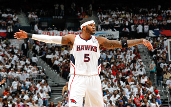 ATLANTA, GA - MAY 12:  Josh Smith #5 of the Atlanta Hawks against the Chicago Bulls in Game Six of the Eastern Conference Semifinals in the 2011 NBA Playoffs at Phillips Arena on May 12, 2011 in Atlanta, Georgia.  NOTE TO USER: User expressly acknowledges