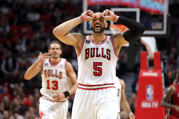 CHICAGO, IL - MAY 26:  Carlos Boozer #5 and Joakim Noah #13 of the Chicago Bulls looks on against the Miami Heat in Game Five of the Eastern Conference Finals during the 2011 NBA Playoffs on May 26, 2011 at the United Center in Chicago, Illinois. The Heat