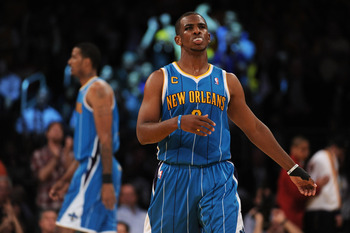 LOS ANGELES, CA - APRIL 26:  Chris Paul #3 of the New Orleans Hornets reacts at the end of the second quarter while taking on the Los Angeles Lakers in Game Five of the Western Conference Quarterfinals in the 2011 NBA Playoffs on April 26, 2011 at Staples