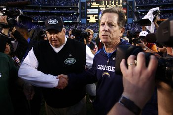 SAN DIEGO - JANUARY 17:  (R-L) Head coach Norv Turner of the San Diego Chargers shakes hands with head coach Rex Ryan of the New York Jets following the AFC Divisional Playoff Game at Qualcomm Stadium on January 17, 2010 in San Diego, California. The Jets