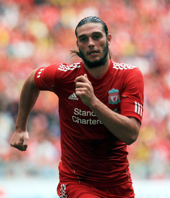 KUALA LUMPUR, MALAYSIA - JULY 16: Andy Carroll of Liverpool during the pre-season friendly match between Malaysia and Liverpool at the Bukit Jalil National Stadium on July 16, 2011 in Kuala Lumpur, Malaysia. (Photo by Stanley Chou/Getty Images)