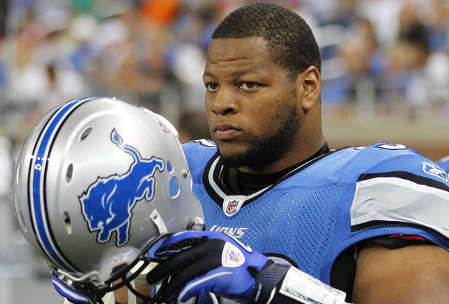 DETROIT - AUGUST 28: Ndamukong Suh #90 of the Detroit Lions looks on prior to playing the Cleveland Browns in a preseason game on August 28, 2010 at Ford Field in Detroit, Michigan.  (Photo by Gregory Shamus/Getty Images)