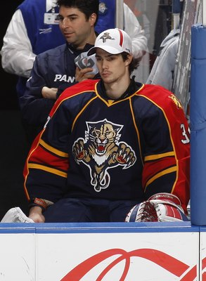 SUNRISE, FL - DECEMBER 2: Goaltender Alexander Salak #34 of the Florida Panthers watches game action against the Colorado Avalanche on December 2, 2009 at the BankAtlantic Center in Sunrise, Florida. The Panthers defeated the Avalanche 6-5. (Photo by Joel