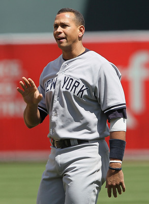 OAKLAND, CA - APRIL 22:  Alex Rodriguez #13 of the New York Yankees gestures towards the Oakland Athletics dugout during a verbal altercation with pitcher Dallas Braden #51 of the Oakland Athletics in the sixth inning at the Oakland-Alameda County Coliseu