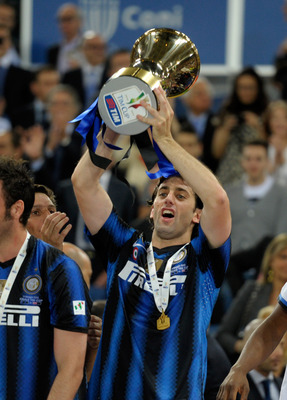 ROME, ITALY - MAY 29:  Diego Milito of  FC Internazionale Milano celebrates after victory in the Tim Cup final during the Tim Cup final between FC Internazionale Milano and US Citta di Palermo at Olimpico Stadium on May 29, 2011 in Rome, Italy.  (Photo by