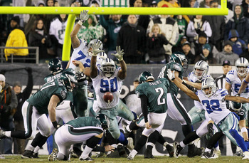 PHILADELPHIA, PA - JANUARY 02:  David Akers #2 of the Philadelphia Eagles kicks a field goal as Jay Ratliff #90 of the Dallas Cowboys attempts a block on January 2, 2011 at Lincoln Financial Field in Philadelphia, Pennsylvania. The Cowboys defeated the Ea