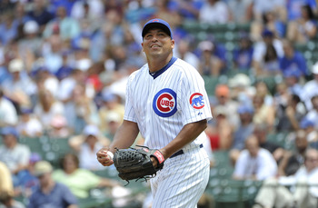 CHICAGO, IL - JULY 22:  Starting pitcher Carlos Zambrano #38 of the Chicago Cubs stands on the mound during the second inning against the Houston Astros at Wrigley Field on July 22, 2011 in Chicago, Illinois. The Cubs won 4-2.  (Photo by Brian Kersey/Gett