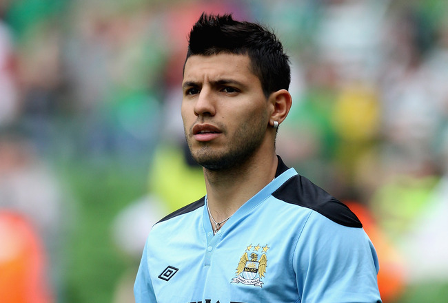 DUBLIN, IRELAND - JULY 31:  Sergio Aguero of Manchester City warms up priot to the Dublin Super Cup match between Inter Milan and Manchester City at the Aviva Stadium on July 31, 2011 in Dublin, Ireland.  (Photo by David Rogers/Getty Images)