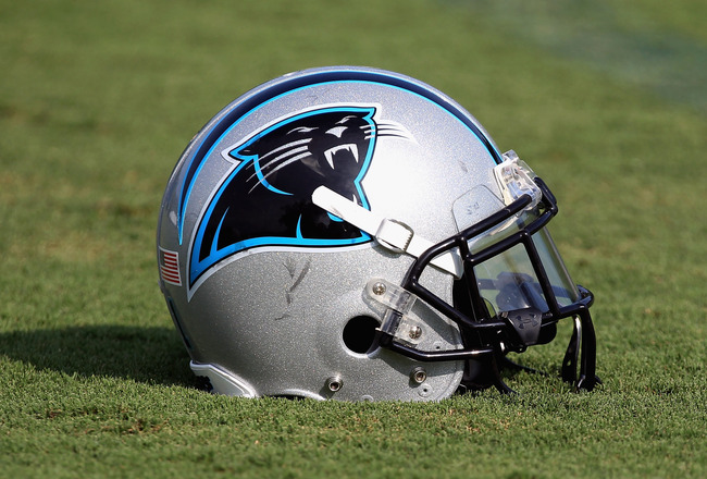SPARTANBURG, SC - AUGUST 03:  A helmet of the Carolina Panthers on the ground during training camp at Wofford College on August 3, 2011 in Spartanburg, South Carolina.  (Photo by Streeter Lecka/Getty Images)
