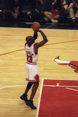 7 Jun 1998:  Michael Jordan #23 of the Chicago Bulls shoots a free throw during the NBA Finals game 3 against the Utah Jazz at the United Center in Chicago, Illinois.  The Bulls defeated the Jazz 96-54. Mandatory Credit: Jonathan Daniel  /Allsport
