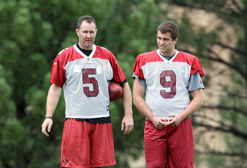 FLAGSTAFF, AZ - JULY 30:  Punters Ben Graham #5 and Derek Epperson #9 of the Arizona Cardinals practices in the team training camp at Northern Arizona University on July 30, 2011 in Flagstaff, Arizona.  (Photo by Christian Petersen/Getty Images)