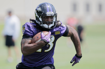 OWINGS MILLS, MD - JULY 29: Running back Damien Berry #23 of the Baltimore Ravens carries the ball during training camp on July 29, 2011 in Owings Mills, Maryland.  (Photo by Rob Carr/Getty Images)